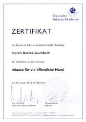 Inkasso Gumbert Deutsche Inkasso Akademie Zertifikat