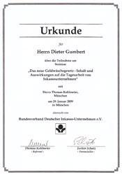 Urkunde Inkasso Gumbert