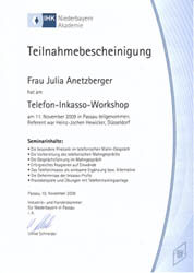 Inkasso Gumbert Zertifikat